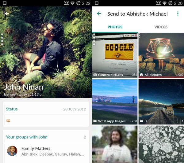 Profile and image sharing WhatsApp for Android gets a much needed Material Design makeover, bringing cleaner layouts and new icons