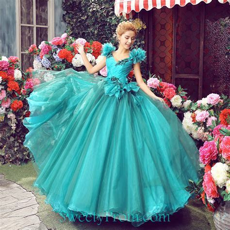 V Neck Organza Ball Gown Princess Fairy Dresses Floral