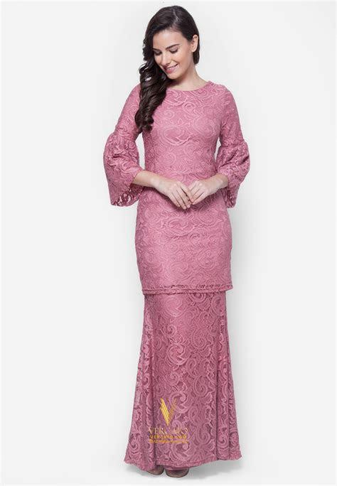 baju kurung moden lace vercato nora  dusty pink buy