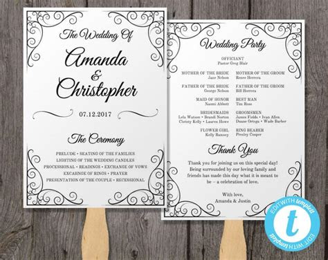 vintage wedding program fan template fan wedding program
