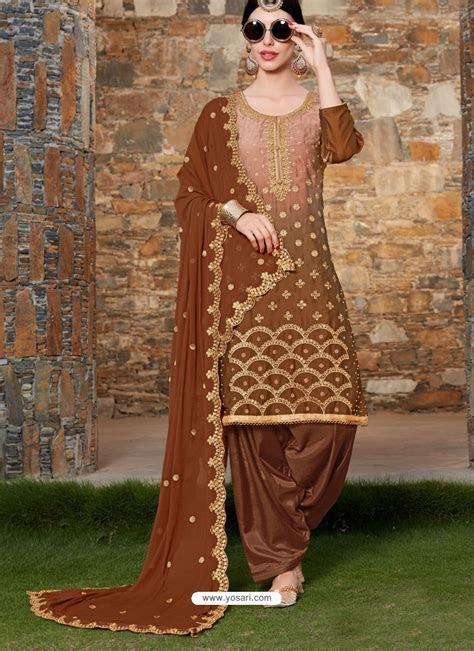 Buy Brown Rangoli Embroidered Designer Punjabi Patiala