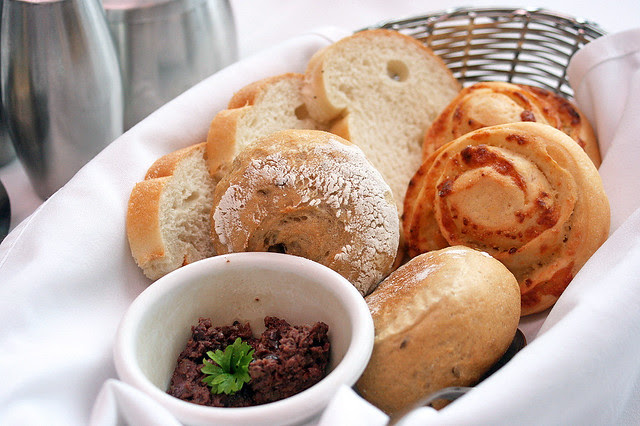 Bread rolls, freshly baked every day! Served here with tapenade