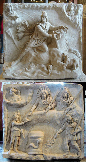 Double-faced Mithraic relief. Rome, 2nd-3rd ce...
