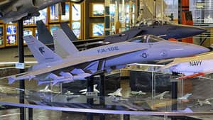 The Boeing Prologue Room in St. Louis, Missouri showcases models of the number-two U.S aircraft maker's signature planes, including the new F/A-18E or Super Hornet.