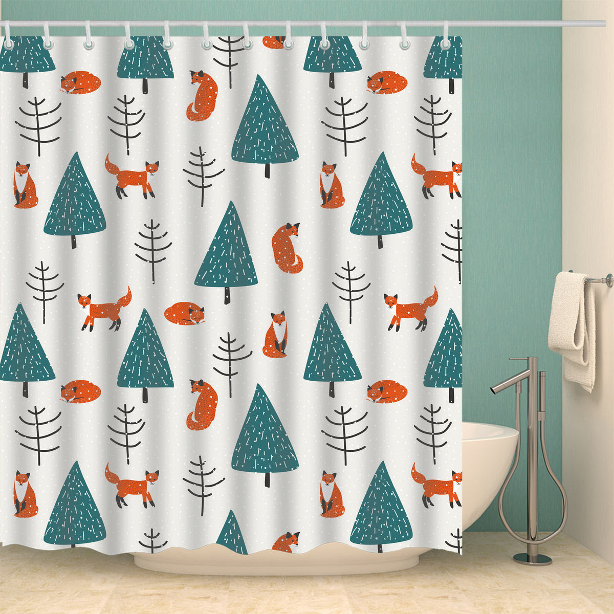 Unique Cute Fox With Trees Design Christmas Shower Curtain Gojeek