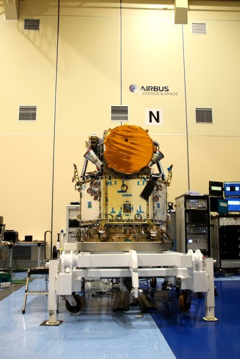 The integrated Cheops satellite The Cheops satellite in the cleanroom of Airbus Defence and Space Spain...