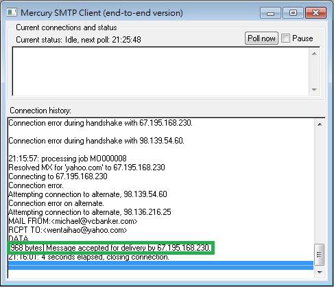 Mercury 32 SMTP Client Retry Sending Emails