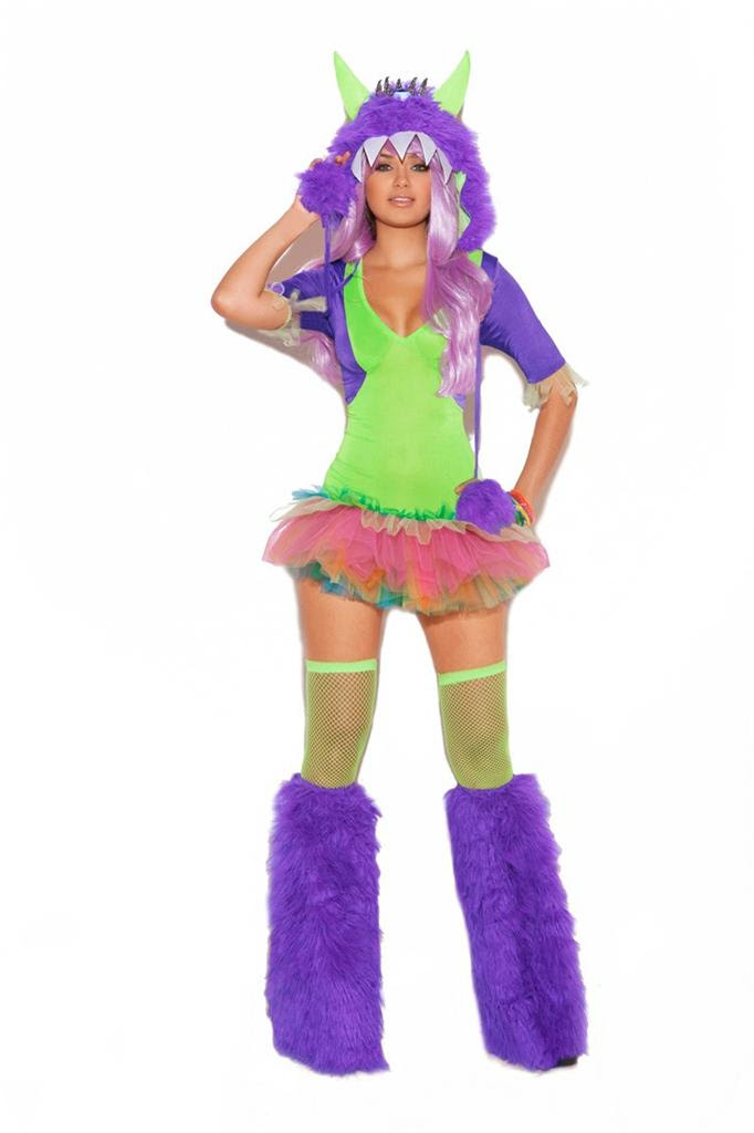 one eyed monster costume tutu dress furry hood neon green