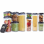 Royal [10-Piece Set] Air-Tight Food Storage Container Set - Durable Plastic - BPA Free - Clear Plastic with Black Lids