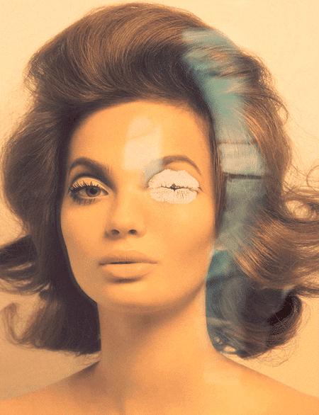 """La barra de labios que se esconde uno de los ojos de la modelo es una forma de decirle """"Hey, esto tiene que ver con Illuminati MK""""."""
