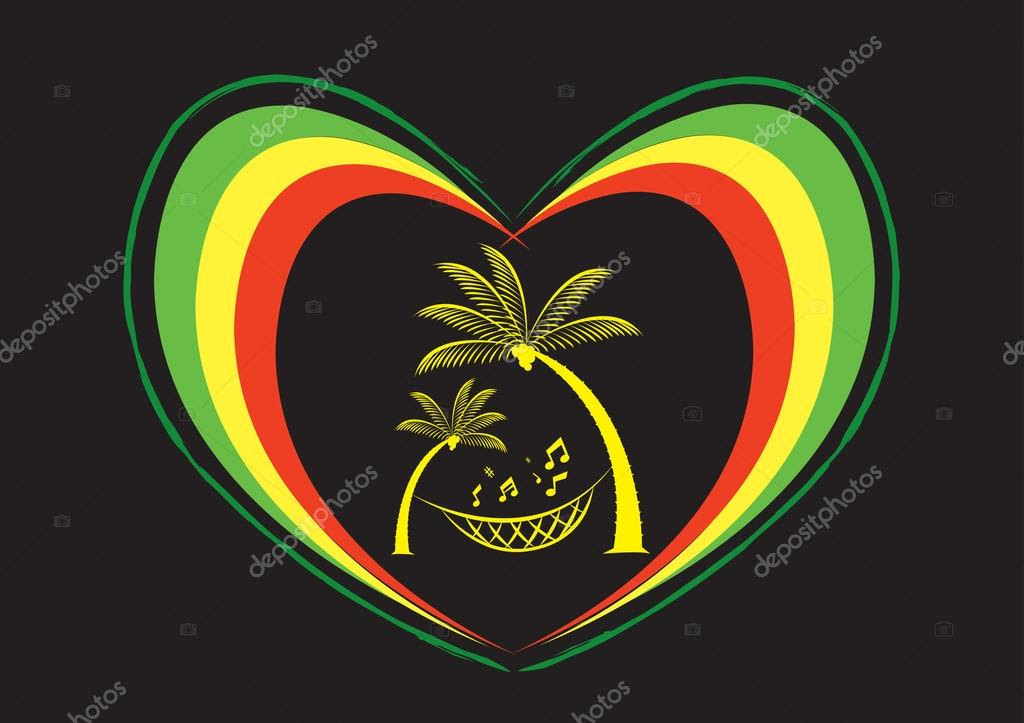 Reggae Heart and Palm Trees with Musical Note. Editable Clip Art ...