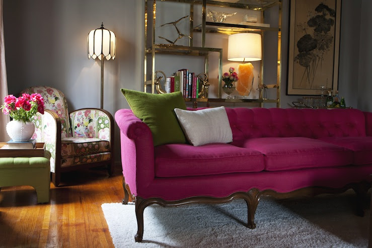 Pink Tufted Sofa - Eclectic - living room - Emily Henderson