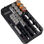 Stalwart Battery Organizer Caddy with Tester