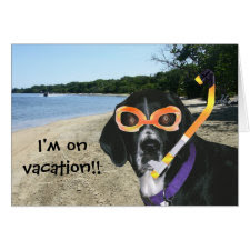 Scuba Dog at the Beach card