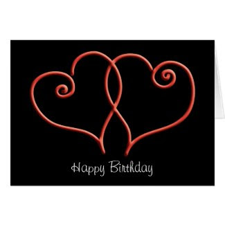 Red and Black Swirl Hearts Birthday Card
