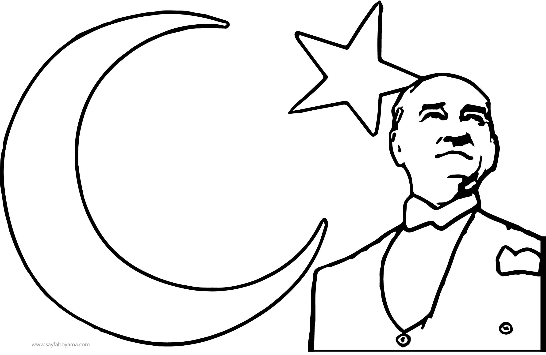 Atatürk Ay Yıldız Boyama Sayfası
