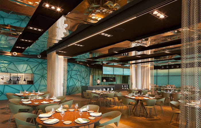 Gold and Turquoise Restaurant Decor in Barcelona - InteriorZine