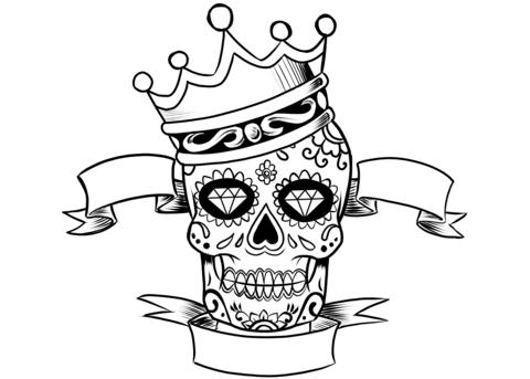 Dibujo De Calavera Con Corona Para Colorear Dibujos Para Colorear