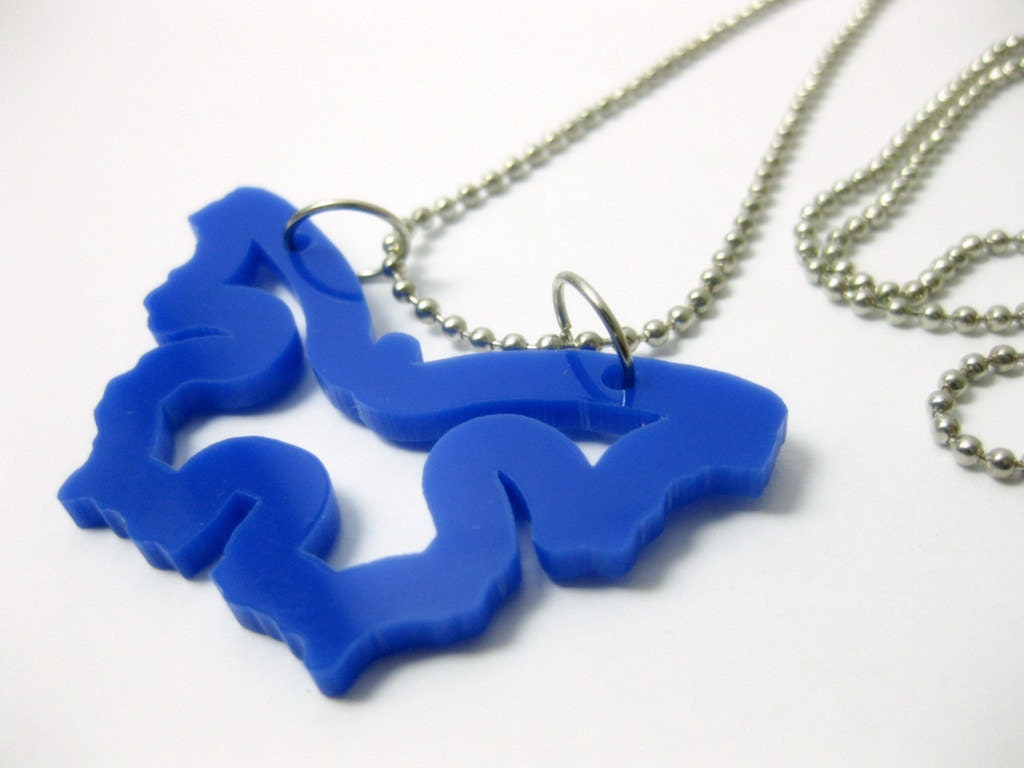 Small blue acrylic plexiglass butterfly pendant - anmarkdesign