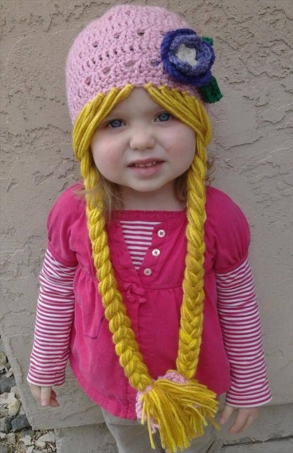 diy rapunzel character crochet hat