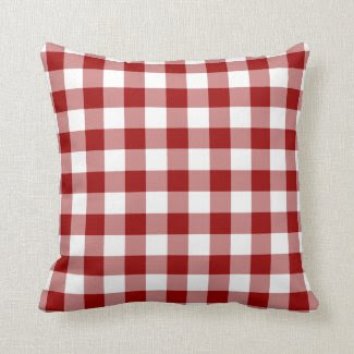 Red and White Gingham Pattern Pillows