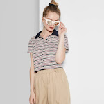 petiteWomen's Striped Short Sleeve Button Front Polo Shirt - Wild Fable Pink/Navy