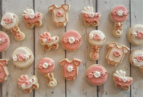 Rose gold mini baby shower cookies   Hayley Cakes and