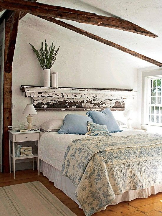 I LOVE the old mantel over the bed...I have found many of these old things at flea markets..great