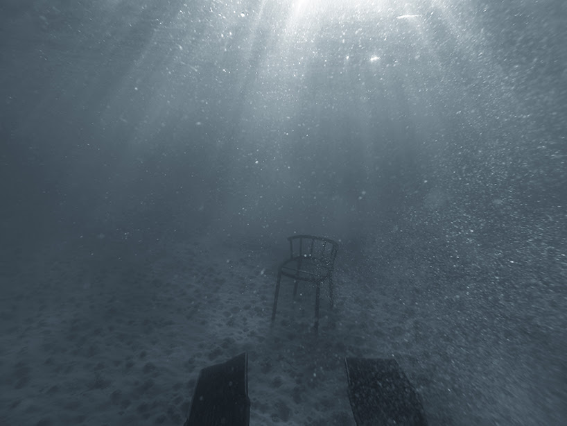 andreas konradsen naturally welds chair by submerging it into the baltic sea