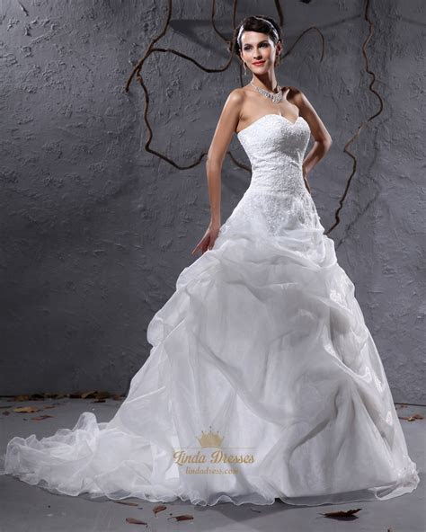 Ivory Sweetheart Organza Pick Up Wedding Dresses