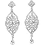 Cubic Zirconia Marquise Dangle Chandelier Earrings Rhodium on Sterling Silver