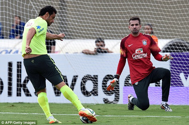Back-up: Victor (right) is Brazil's third choice keeper