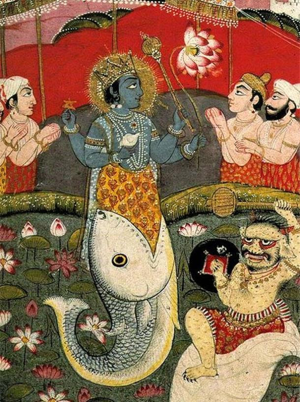 Incarnation of Vishnu as a Fish, from a devotional text.