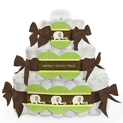 Baby Elephant - Personalized Baby Shower Square Diaper Cakes - 3 Tier