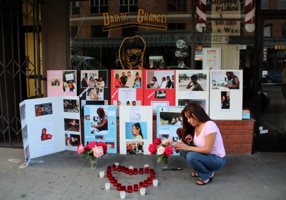 Brandy Martell was fatally shot in downtown Oakland on April 29, 2012. A vigil marking the one-year anniversary of her death was held on Monday at Franklin and 13th, the scene of the crime.