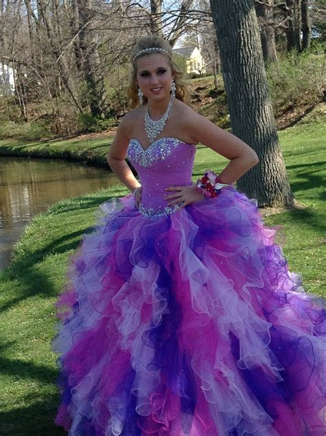 Pink and Purple Poofy Prom Dress   Wedding and prom