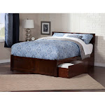 Orlando King Platform Bed with Flat Panel Foot Board and 2 Urban Bed Drawers in Walnut