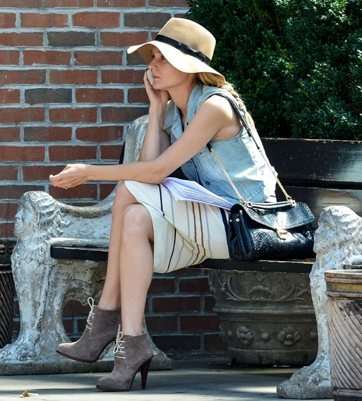 LE FASHION BLOG STYLE DIANE KRUGER ACTRESS FLOPPY TAUPE HAT LACE UP ANKLE BOOTS BOOTIES STRIPE SLEEVELESS TANK DRESS KNEE LENGTH LOCK SEQUIN CROSS BODY SHOULDER BAG LEVIS DENIM JEAN VEST RAY BAN SUNGLASSES 2