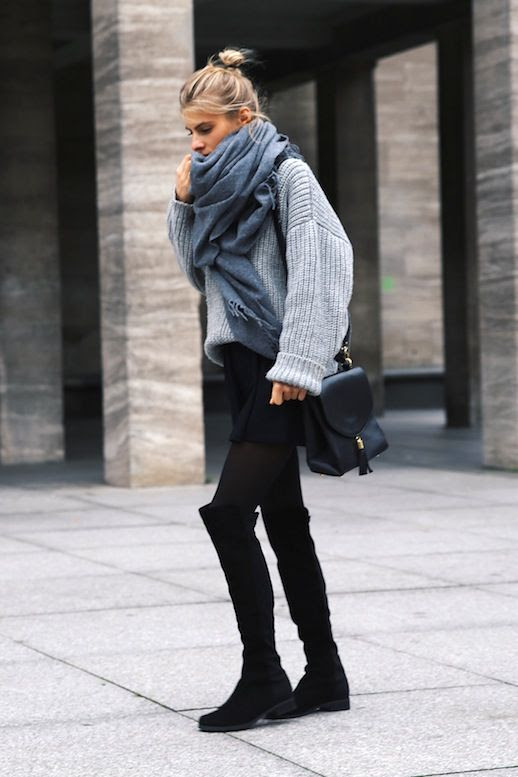 Le Fashion Blog Blogger Style Oversize Scarf With Tassels Slouchy Knit Short Skirt Over The Knee Boots Via Debiflue