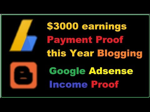 $3000 Google Adsense blogging earnings payment this year on a blogger te...