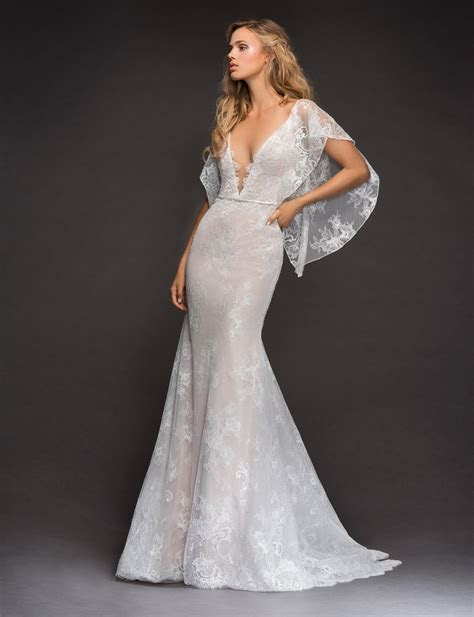 Open Back Flutter Sleeve Lace Wedding Dress   Kleinfeld Bridal