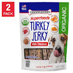 Chewmasters Organic Superfoods Turkey Jerky Dog Treats, 32 oz, 2-Count