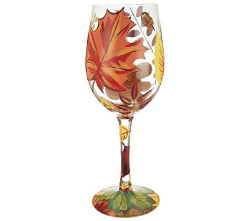 Lolita Autumn Leaves Wine Glass Rare Design for Thanksgiving or Halloween