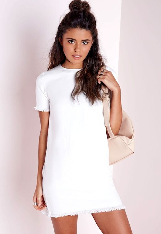Le Fashion Blog Incredibly Stylish White Dresses With Fray Missguided Frayed Edge Denim Shift Dress Vacation Summer Style