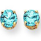 14K Yellow Gold Post Earrings 5mm Blue Topaz Earrings - 1.16 cwt