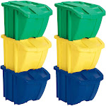Suncast BH183PK Stackable Recycling Bin Containers & Lids, Multicolored 6 Bins at Spreetail (VMinnovations | VM Express)