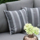 scatter cushion grey stripe print regatta garden