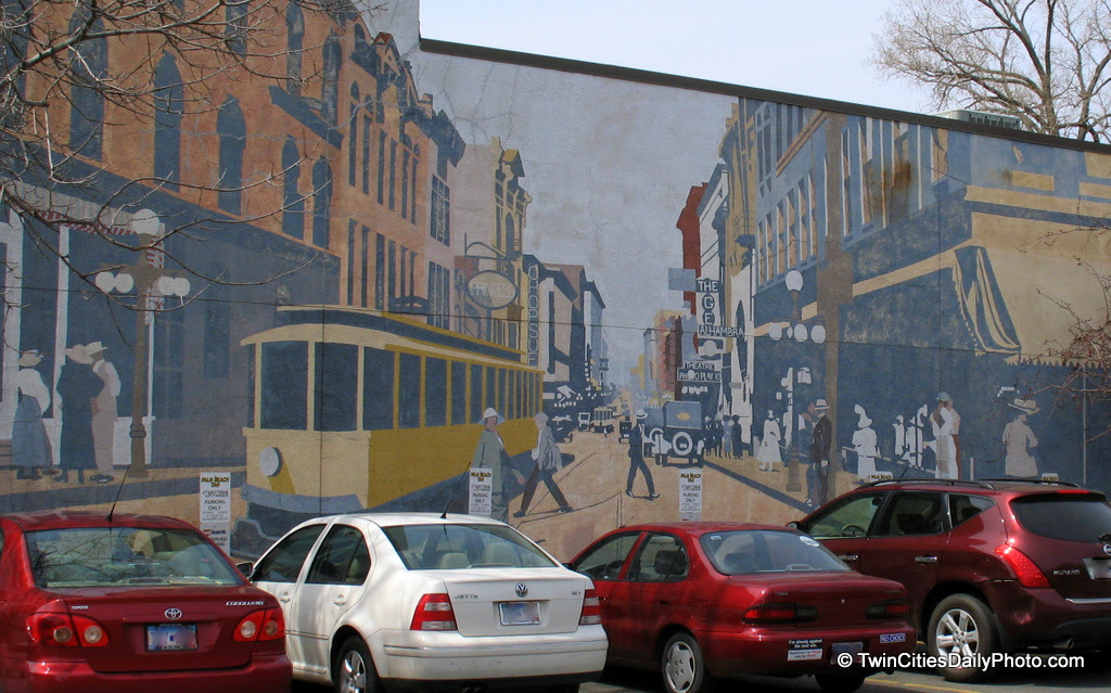 A mural on the side of one of the buildings that runs along Grand Avenue in St Paul.