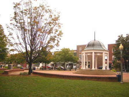 Bandstand and town Square in Front Royal, VA