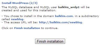 Fantastico WP Install Step 2